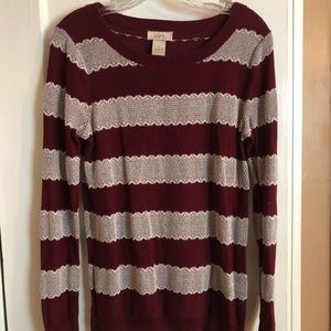 Loft burgundy and lace sweater!